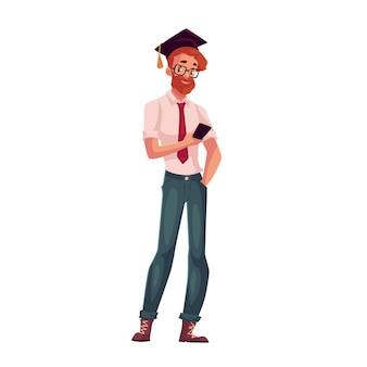 Студент университета в квадратных очках и выпускной колпачок держит телефон
