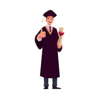 Студент в выпускном платье и кепке с дипломом