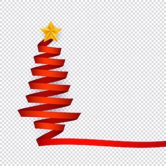 透明な背景の上に星と赤いリボンから作られたクリスマスツリーのベクトルイラスト。