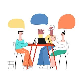 ベクトル漫画女と男のスピーチの泡の話
