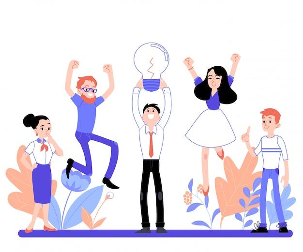 オフィス、フラットな漫画のスタイルでブレーンストーミングの人々のビジネスベクトルイラスト。