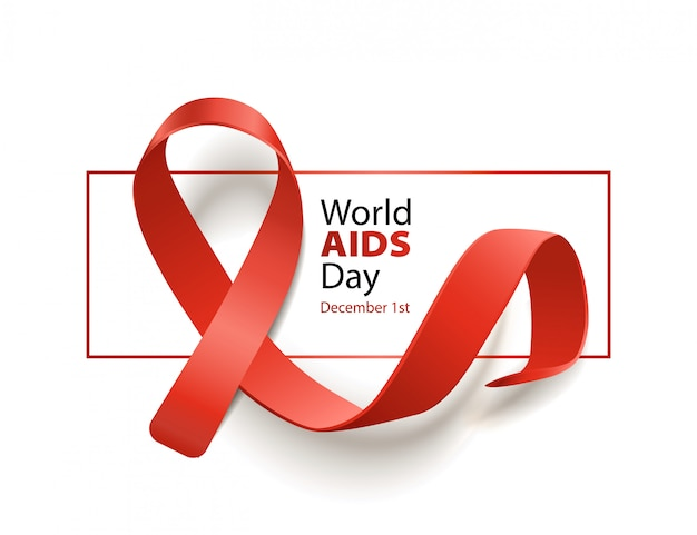 赤いリボンと世界エイズデー意識バナー