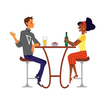 Мужчина и женщина в пабе или баре, пить пиво плоской иллюстрации изолированы.