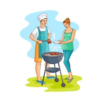 準備されたバーベキュー肉を取る女性をスケッチします。