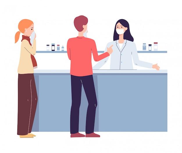 薬局のレジカウンターでの人々-マスクと顧客の薬剤師女性