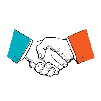 Окрашенное рукопожатие. вектор партнерство. символ дружбы, партнерства и сотрудничества. эскиз рукопожатия. сильное рукопожатие. бизнес и рукопожатие. сотрудничество людей, фирм.