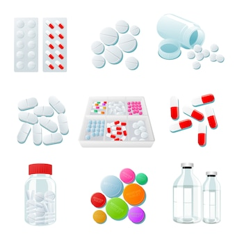さまざまな薬や薬、幅広い範囲