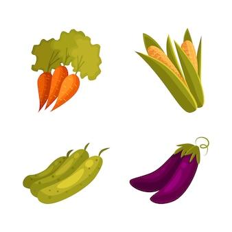 農産物 - トウモロコシ、ニンジン、ズッキーニ、ナス