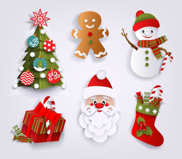 紙カットクリスマス装飾要素のセット