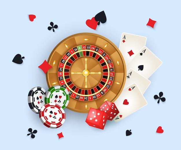 Баннер казино с жетонами и колесом рулетки