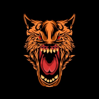 怒っているオオカミのベクトル図