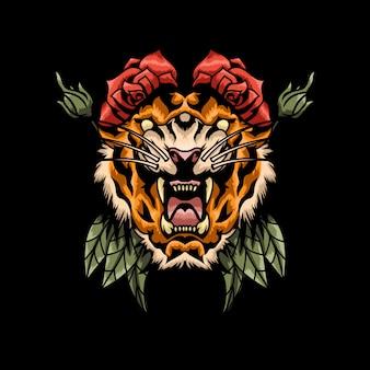 Злой тигр голова тату иллюстрация