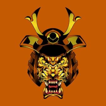 Иллюстрация голова самурая льва