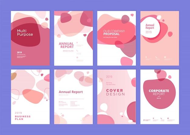 Набор шаблонов дизайна обложки годовой отчет красоты
