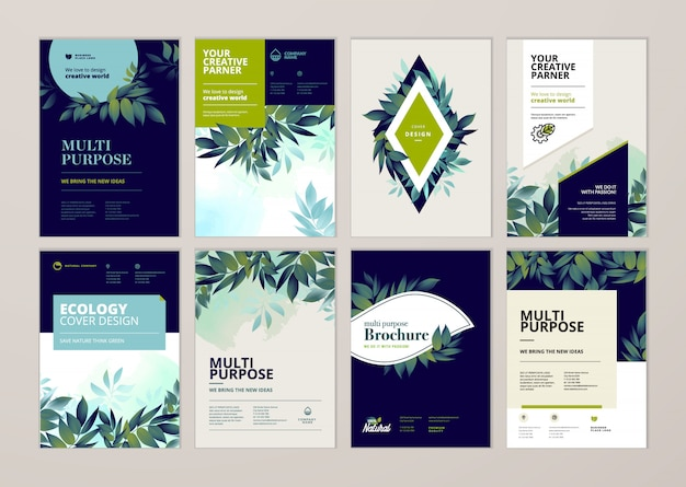 美容年次報告書の表紙のテンプレートデザインセット