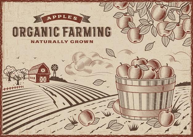 Яблочный органический фермерский пейзаж