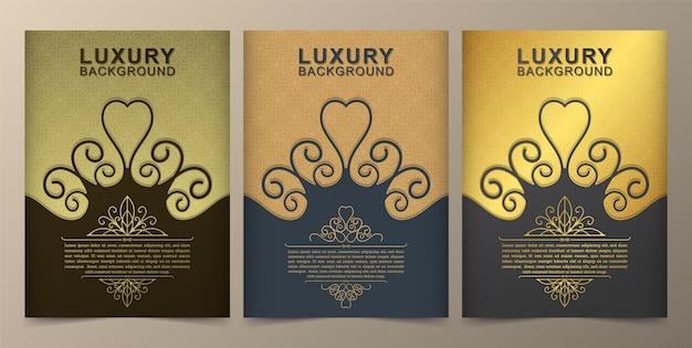 グリーティングカード招待金装飾パターン背景イラスト、