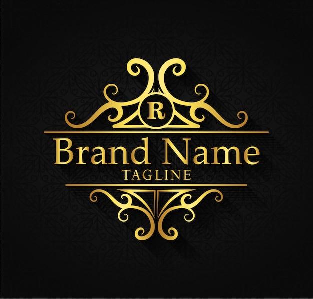Шаблон логотипа расцветает каллиграфия изящных линий орнамента.