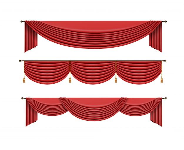 Комплект красных штор. векторная иллюстрация