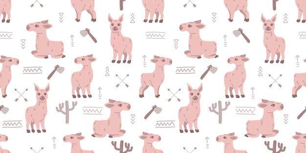 Милый ребенок ламы животных бесшовные каракули мультфильм фоновой иллюстрации