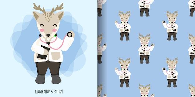 イラスト漫画ベビーシャワーカードとかわいい動物鹿医師シームレスパターン