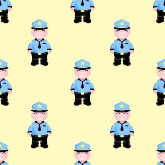 かわいい豚の警察シームレスパターンセット
