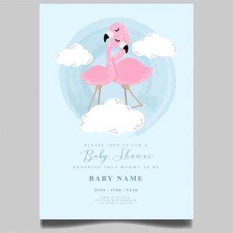 かわいいフラミンゴのベビーシャワーの招待状の新生児の編集可能なテンプレート