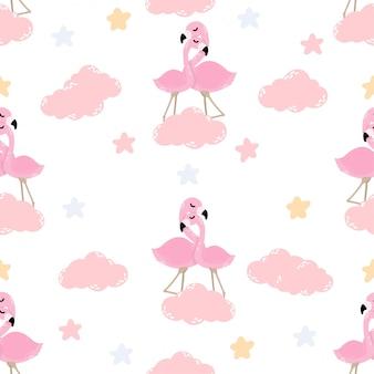かわいい赤ちゃんフラミンゴ動物のシームレスパターン