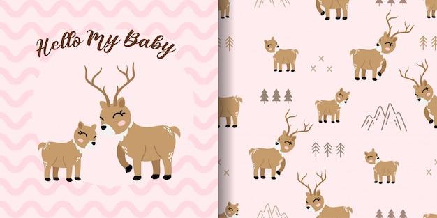 赤ちゃんカードとかわいい鹿動物のシームレスパターン