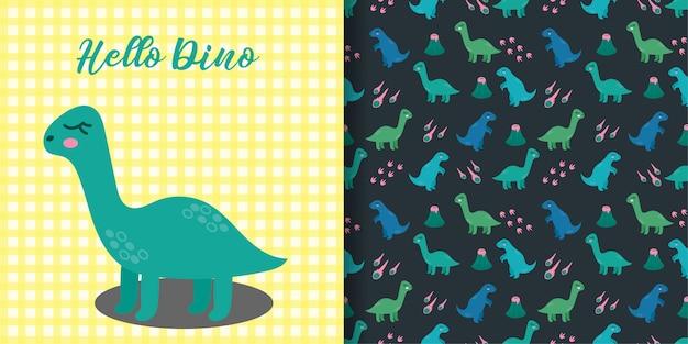 Милые динозавры животных бесшовные модели с детской карточкой