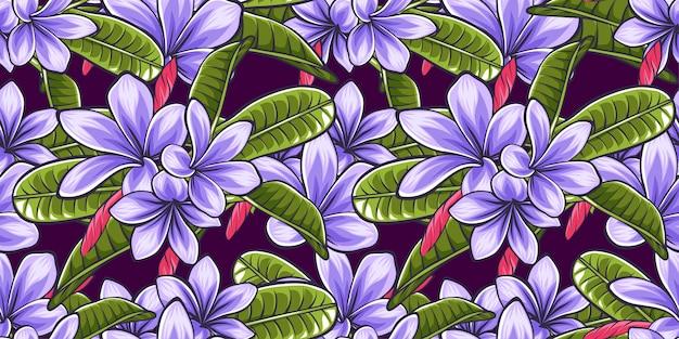 かわいい熱帯の花の葉のシームレスなパターンのテンプレートの背景