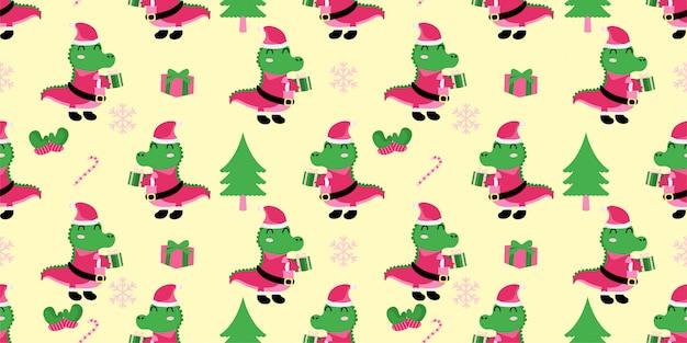 クリスマスシームレスパターンかわいいアリゲーターワニ