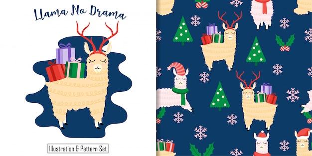 Рождественский бесшовный узор лама зима