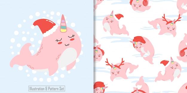 Рождественский бесшовный шаблон вырезать кита зима