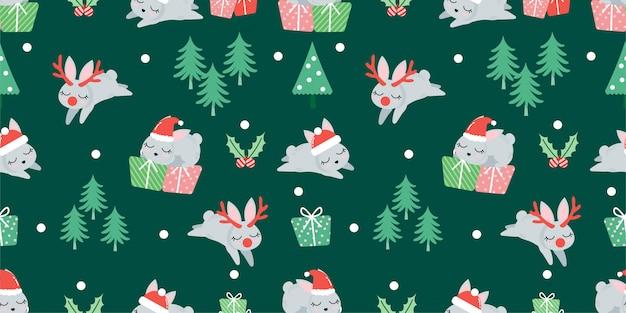 かわいいクリスマス冬ウサギのシームレスパターン
