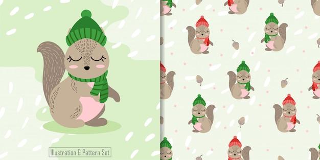 かわいいクリスマス冬リスのシームレスパターン