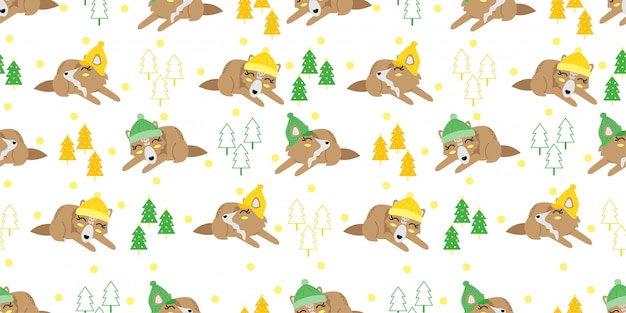 Милый рождество зима лиса бесшовный фон