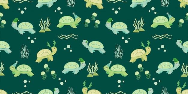 Милые животные зимняя черепаха бесшовный узор каракули
