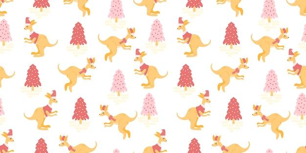 かわいい動物のシームレスパターンクリスマス冬のテーマ