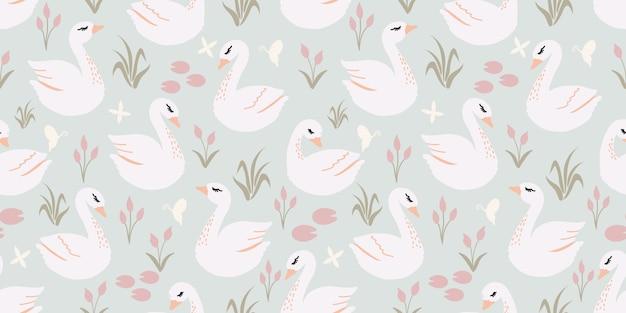 美しいかわいい白鳥のシームレスパターン