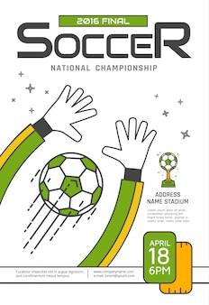 Футбольный плакат чемпионата. спортивные соревнования. вратарь ловит мяч. векторная иллюстрация