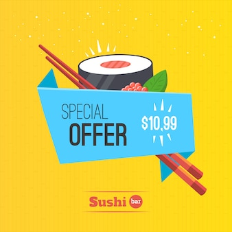 巻き寿司折り紙バナーテンプレート特別オファー。日本食のイラスト。