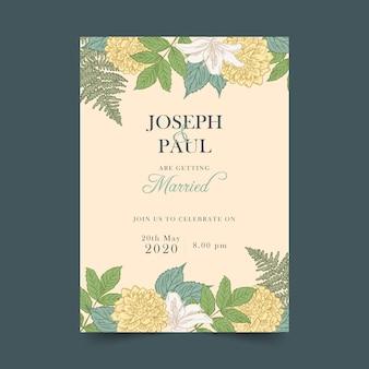 ビンテージ植物結婚式の招待状
