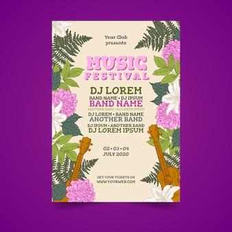 熱帯のカラフルな音楽のポスター