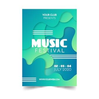 抽象的な流体音楽ポスター