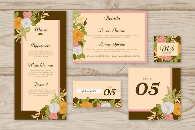 結婚式の文房具の型板