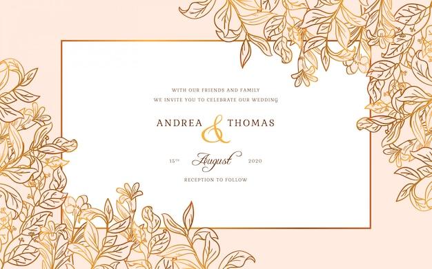 Золотая свадебная рамка