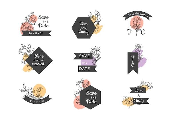 Набор свадебных цветочных значков