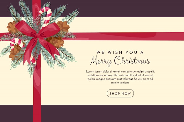 リボンとクリスマスの背景