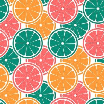 オレンジとカラフルなシームレスパターン